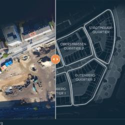 Infoseite der GEBAG informiert zum Mercator Viertel