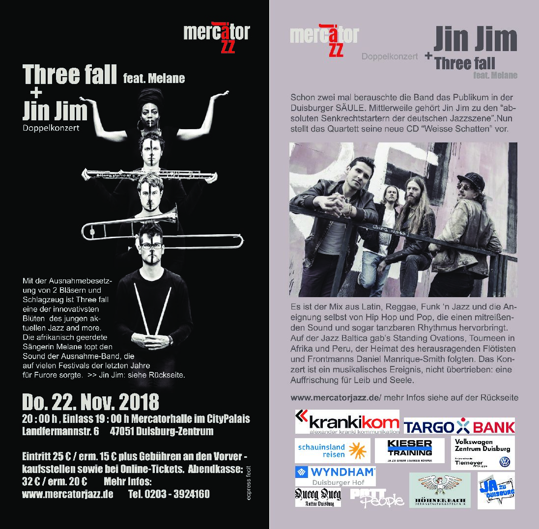 Mercator Jazz: Jin Jim + Three fall feat. Melane